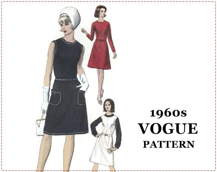 1960s Dress Pattern - Vogue 6545 - One-Piece Dress, Jumper, Blouse - Size 14 Bust 34 - A-line Dress, A-line Jumper, Rolled Collar Blouse by EightMileVintageSews on Etsy