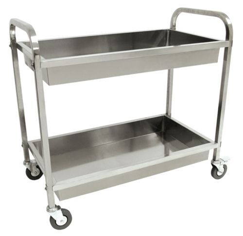 Restaurant-Cart-Outdoor-Serving-Bus-w-Wheels-Bar-Rolling-Metal-Stainless-Steel