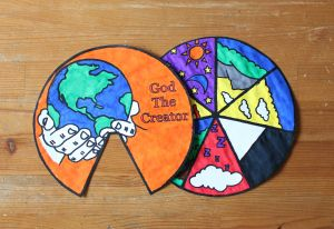 Days Of Creation Wheel  The Days Of Creation Wheel is a good way to share the story of God creating the world. Each wedge tells the story of what God did on that day of creation. This would make a great take home reminder of the lesson.