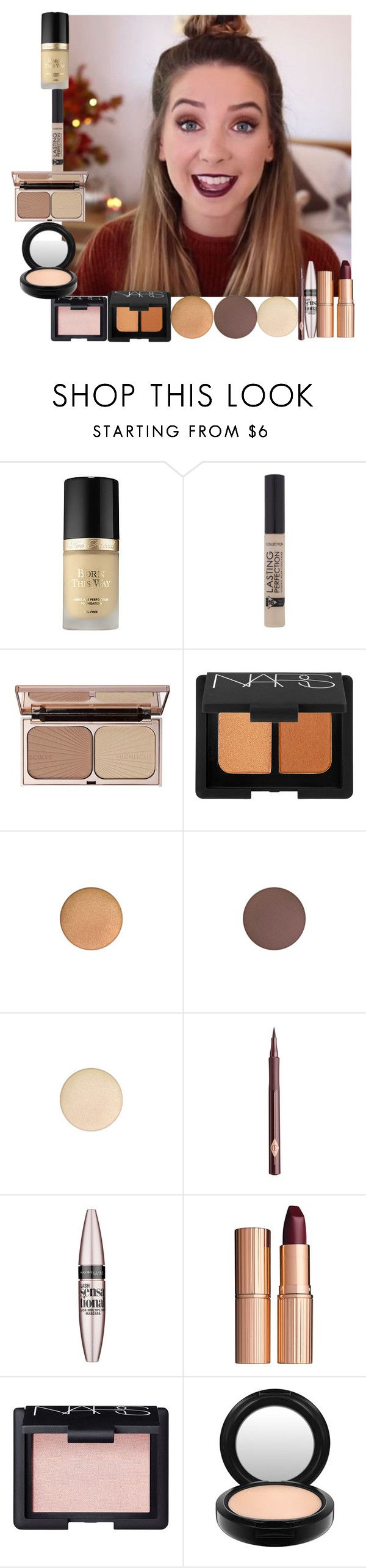 """""""Zoella Autumn Makeup Look"""" by lovesammi98 ❤ liked on Polyvore featuring beleza, Too Faced Cosmetics, Charlotte Tilbury, NARS Cosmetics, MAC Cosmetics e Maybelline"""