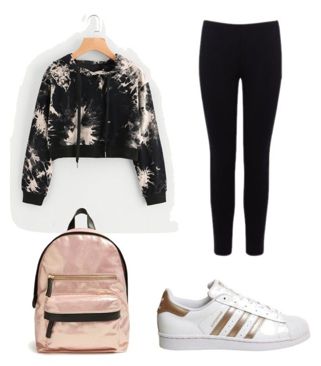 """""""Gold and Black Outfit"""" by ujuekeocha on Polyvore featuring adidas, Warehouse and Forever 21"""