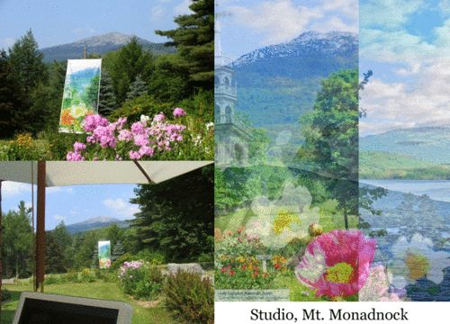 Garden banners by Holly Alderman at her studio gardens in NH
