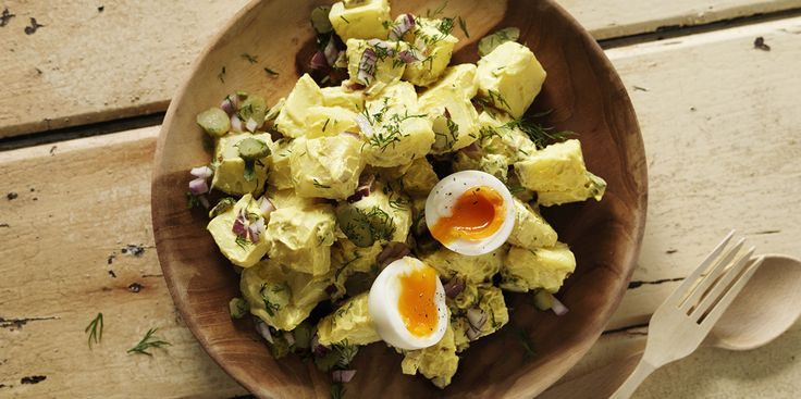 Turmeric Yoghurt & Tahini Potato Salad via @iquitsugar