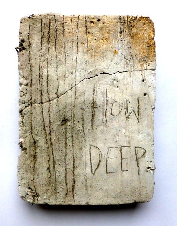 how deep. scratching marks, concrete, paint. Ines Seidel