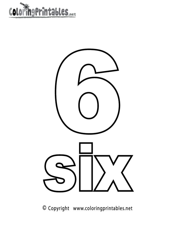 Number Six Coloring Page Printable