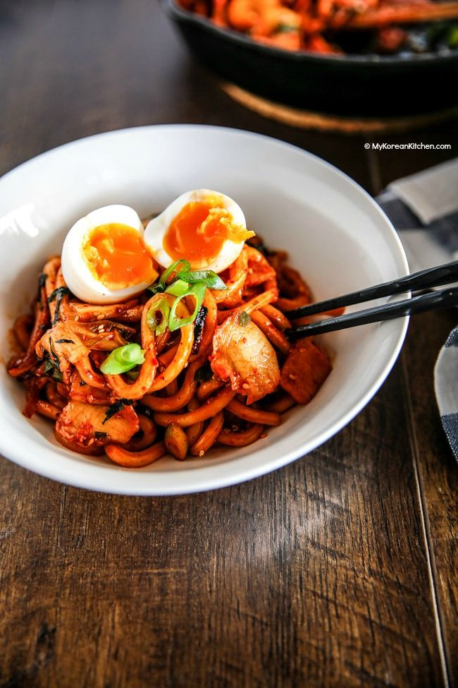 Simple but addictive Kimchi udon noodle stir fry. It will be your new favourite noodle dish! | MyKoreanKitchen.com
