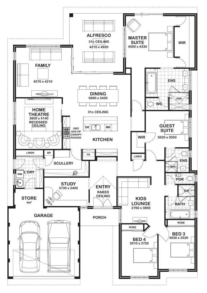 4 Bedroom House Plans 4 bedroom apartmenthouse plans source privie world Floor Plan Friday 4 Bedroom 3 Bathroom Home Floor Plans Pinterest Change 3 Lounge Areas And Kid