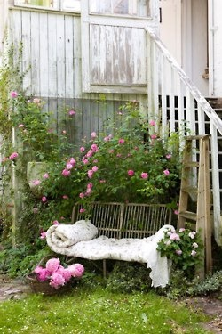 Timeless: Idea, Shabby Chic, Climbing Rose, Outdoor, Gardens Furniture, Naps Time, Places, Reading Spots, Gardens Benches