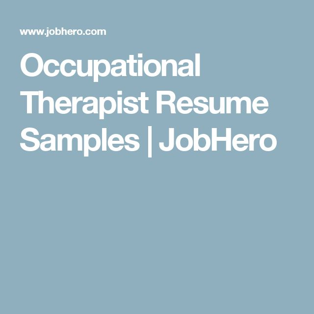 42 best Ot resume images on Pinterest Occupational therapist - resume goals