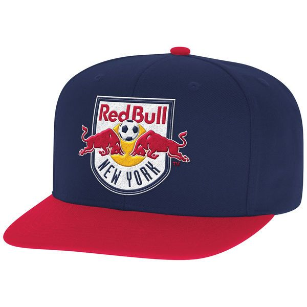 Men s New York Red Bulls Mitchell   Ness Navy Red Two-Tone XL Logo ... 68bfd6c99940