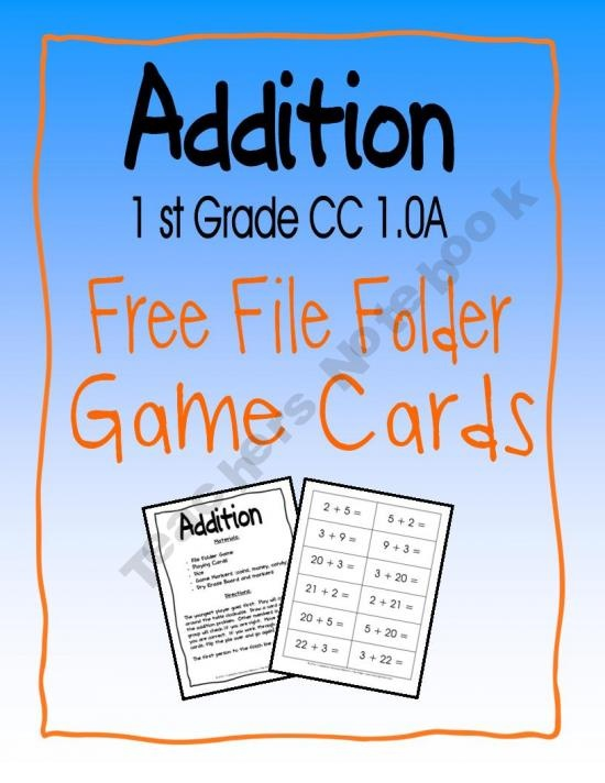 1st Grade Addition Free File Folder Playing Cards
