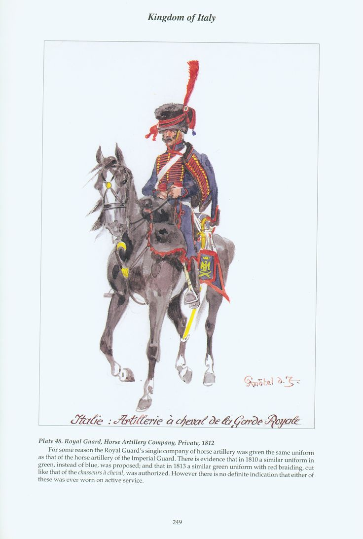 Kingdom of Italy: Plate 48: Royal Guard, Horse Artillery Company, Private, 1812