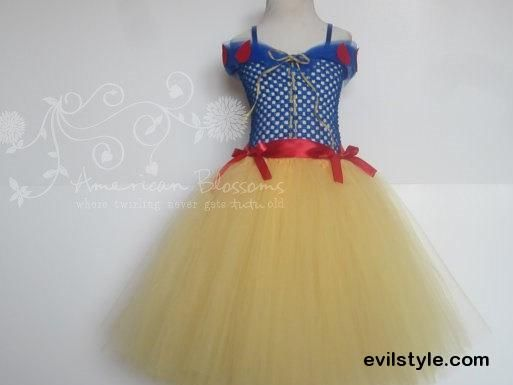 Snow White Costume Tutu Dress Baby Girls Toddler Halloween Costume Princess Full Length Snow White Inspired by American Blossoms - http://evilstyle.com/snow-white-costume-tutu-dress-baby-girls-toddler-halloween-costume-princess-full-length-snow-white-inspired-by-american-blossoms