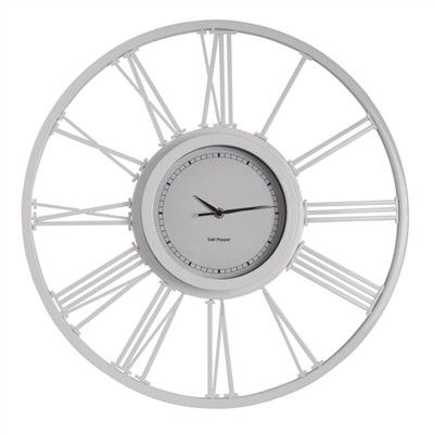 Salt & Pepper Zone 50cm White Wire Clock
