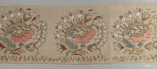 Fragment Date: early 19th century Geography: probably Greece Culture: Islamic Medium: Linen, silk, metal wrapped thread; plain weave, embroidered Dimensions: H. 9 in. (22.9 cm) W. 38 in. (96.5 cm) Classification: Textiles-Embroidered Credit Line: Anonymous Gift, 1879