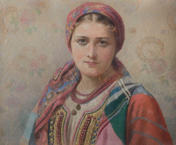 PIOTR STACHIEWICZ (1858 - 1938)  HANKA Z BRONOWIC   pastel, papier / 49 x 60 cm  sygn. l.d.: P. STACHIEWICZ