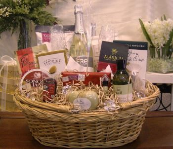 Give the bride and groom a special gift by sending them the Wedding Night Surprise.  A lovely basket filled with snacks and non-alcoholic champagne is a welcome sight for the couple when they reach their honeymoon suite.  Order at http://www.thebestgourmetgiftbaskets.com or call 937-324-9774.
