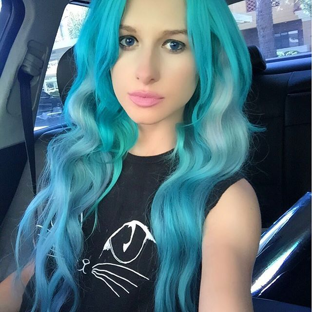 Turquoise mermaid hair color style~ incredible nice look with 613A DIY hair extensions
