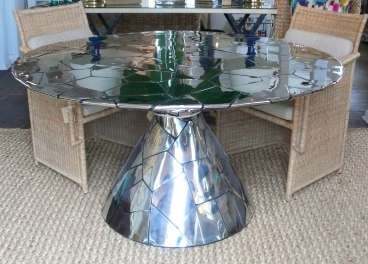 Round Abstract Stainless Steel Dining Table - Mecox Gardens