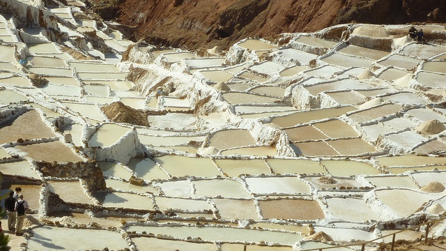 The Maras Salt Mine, high in the Peruvian Andes. This mine is available to any person wishing to harvest salt. There are many unused salt pools that are available to be farmed. Any prospective farmer need only find an unoccupied pool to start working.""