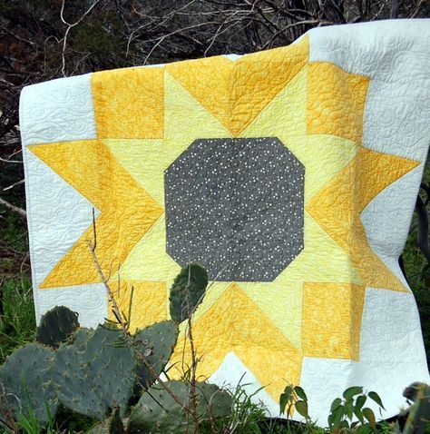 """Sunflower Quilt 54"""" Square. This quilt is like making 1 large block! Easy, fun and fast to sew.Makes a great table topper or picnic quilt!"""
