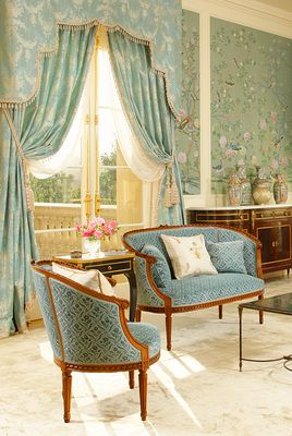 """Sitting room with hand painted Chinese silk wall covering and Prelle's """"Lampas Duchesse Moire Bleu"""" silk fabric"""