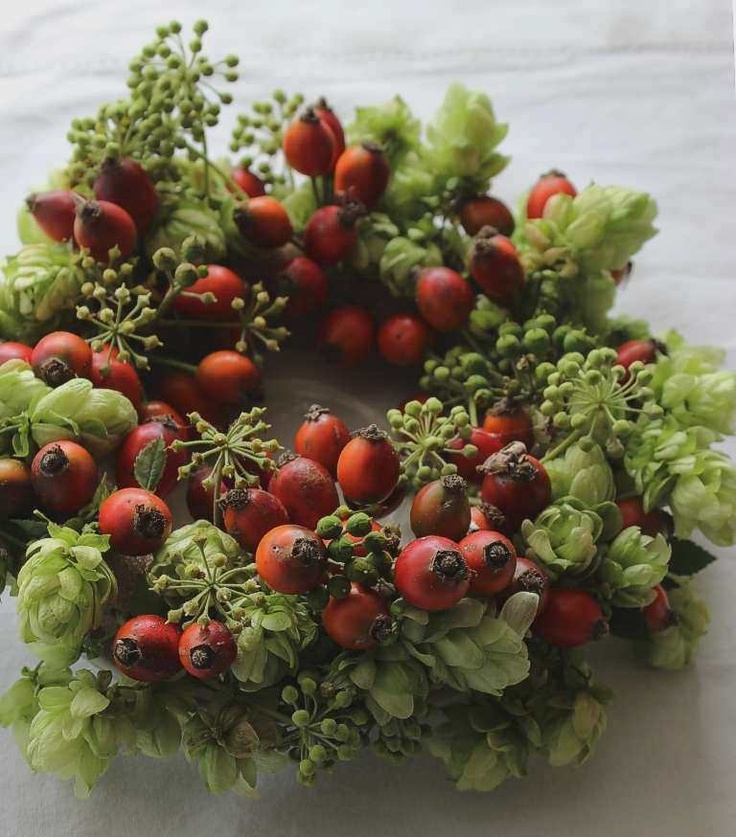 Hops and hips wreath