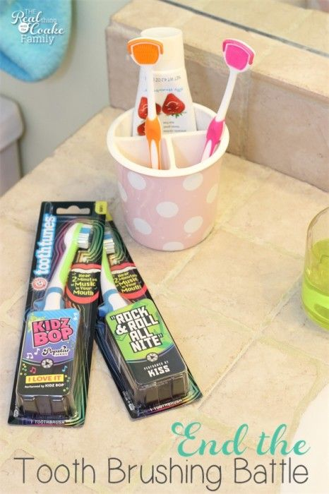 Great idea for ending the tooth brushing battles in our house. Get kids brushing teeth the fun way! It's easy too.