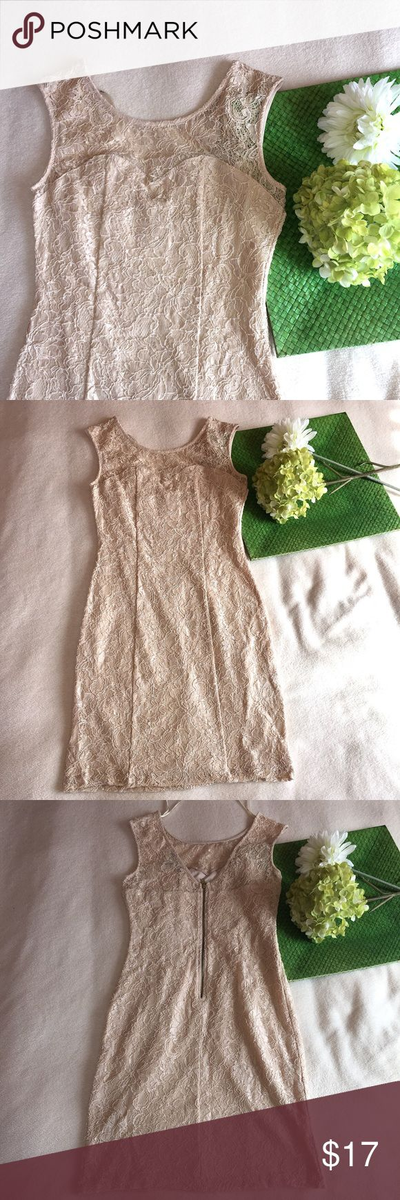F21 | zip back full lace nude bodycon dress Offers welcomed :) Forever 21 Dresses Mini