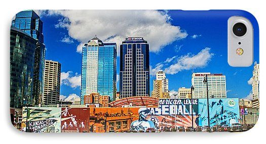 Power And Light District IPhone 7 Case featuring the photograph Power And Light District South by Kevin Anderson Looking North to Kansas City Missouri's Power And Light District. Visible is the 2 block mural by Alexander Austin showing how African-American musicians and ballplayers put Kansas City on the national cultural map.