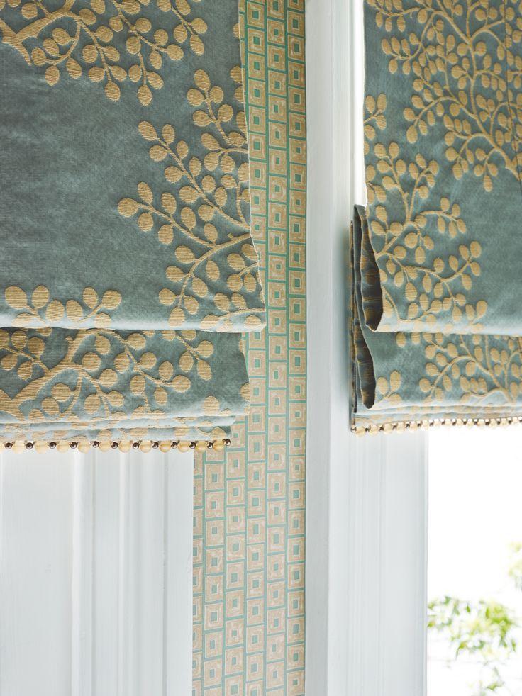 Roman Shades — Jennifer Barron Interiors --- DIY project inspiration - perhaps paint, stitch, applique, ... design on shade ...