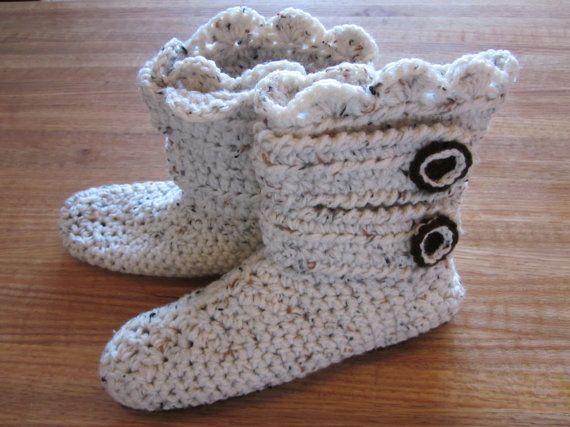 Winter boot crochet slippers by MimicoCrochet on Etsy