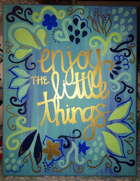 BIG LITTLE CANVAS enjoy the little things by WorksByHogan on Etsy
