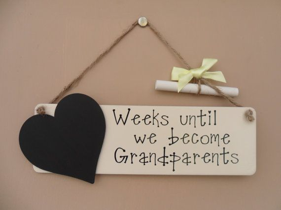 Grandparents Baby Countdown Chalkboard by JulesHandmadeGifts – Grandparents Announcement Baby
