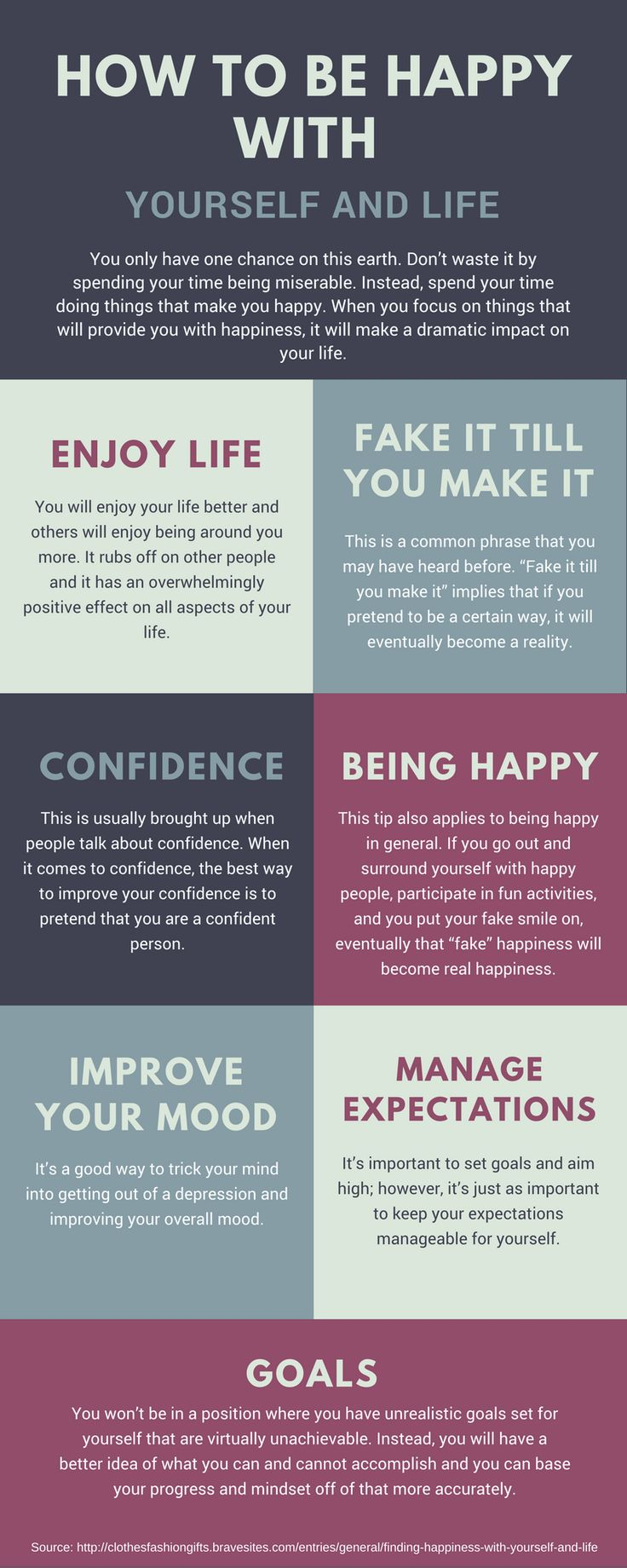 How to Be Happy With Yourself And Life - You only have one chance on this earth. Don't waste it by spending your time being miserable. Instead, spend your time doing things that make you happy. Below, we have a few tips that you can follow to find happiness with yourself and your life.    1. Fake It Till You Make It  2. Manage Expectations For Yourself