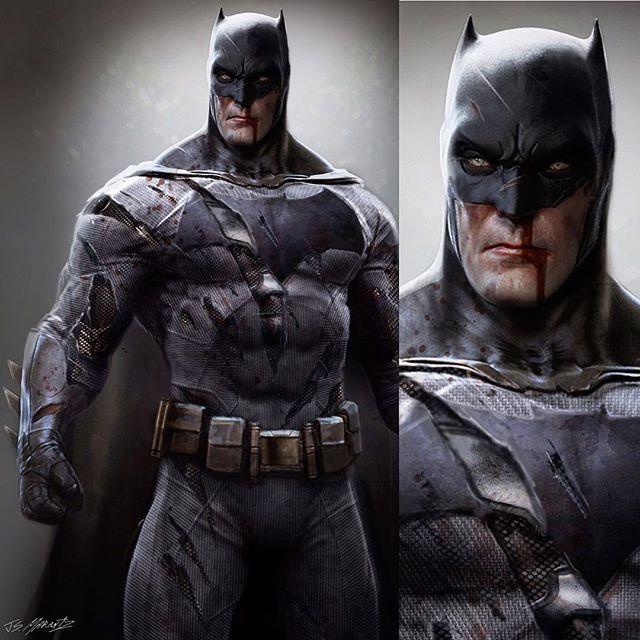 Early concept of #Batman showing the suit damage. #batmanvsuperman #batmanvsupermandawnofjustice #dc #dcuniverse #photoshop #zbrush #jeradsmarantz #bigman #bat #bats #dccinematicuniverse #thedarknightreturns #conceptart #costume #costumeconceptillustration #superhero