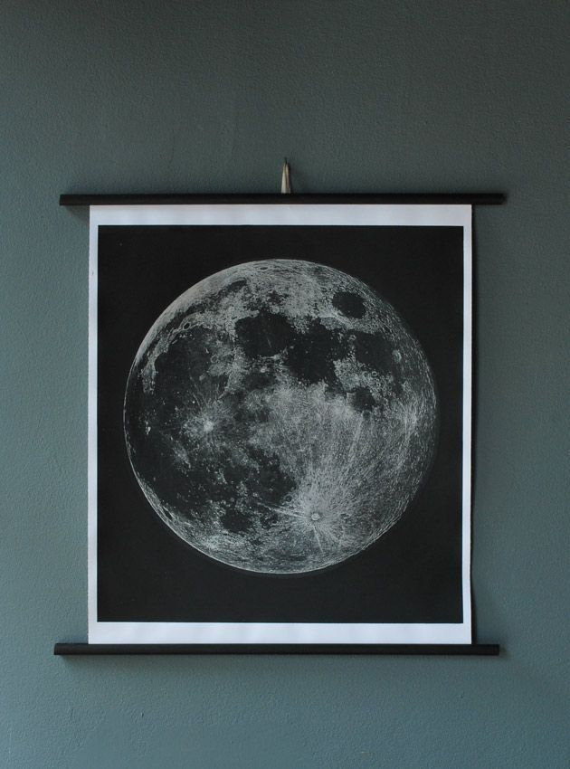 "The moon chart is a striking image. Chart is linen backed with nice deep  blacks against a silvery moon. Two color chart has simple and effective  palette that adds a great deal of depth to the piece. Piece is signed on  lower right in pencil by the artist. Measures: 28"" x 29"""