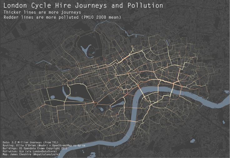 Cool visualization of cycle journeys and air pollution in London created in R (http://spatialanalysis.co.uk/2012/02/great-maps-ggplot2/)