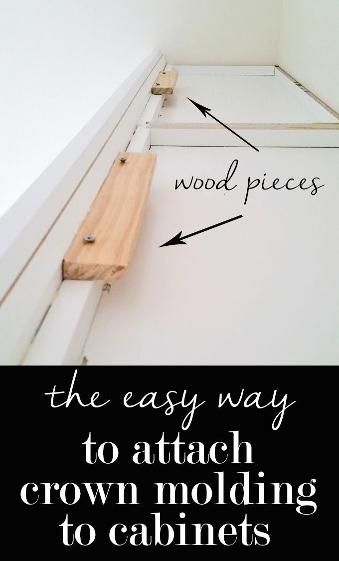 The easy way to attach crown molding to wall cabinets that don't reach the ceiling!  I wish all crown molding was this easy to install when decorating a home. | In My Own Style