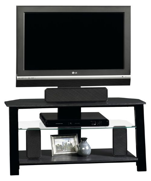 Sauder Beginnings Panel TV Stand with Mount - Black - TV Stands at Hayneedle