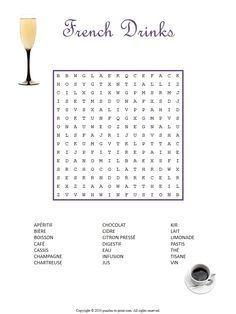 This French drinks word search puzzle will help you or your students quickly increase your vocabulary all while having fun.