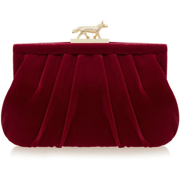 Wilbur & Gussie Lily Fox Burgundy Velvet Clutch Bag ($175) ❤ liked on Polyvore featuring bags, handbags, clutches, burgundy, red purse, clasp purse, wilbur & gussie, chain handbags and chain purse