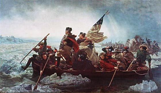 General George Washington crossing the Delaware at the Battle of Trenton on Christmas night 1776