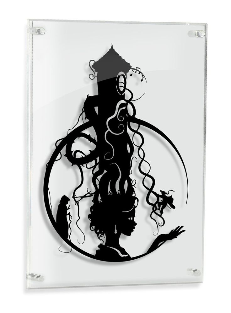 Rapunzel Tower surreal silhouette hand cut paper