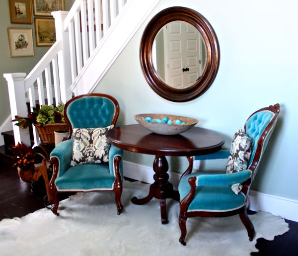 antique dough bowl, victorian furniture and hide rug…cynthiaweber.com