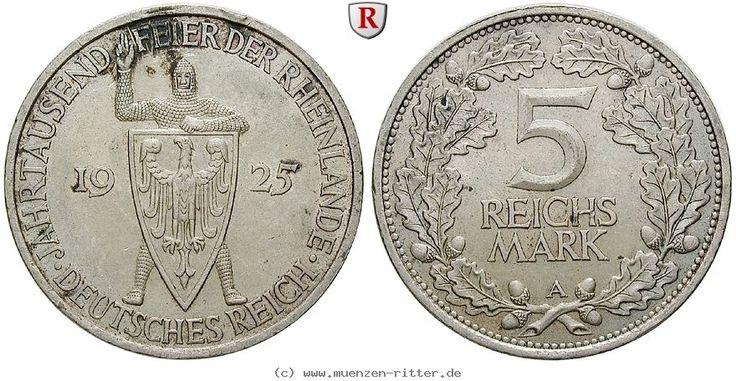 RITTER Weimarer Republik, 5 Reichsmark 1925 D, Rheinlande, J. 322 #coins