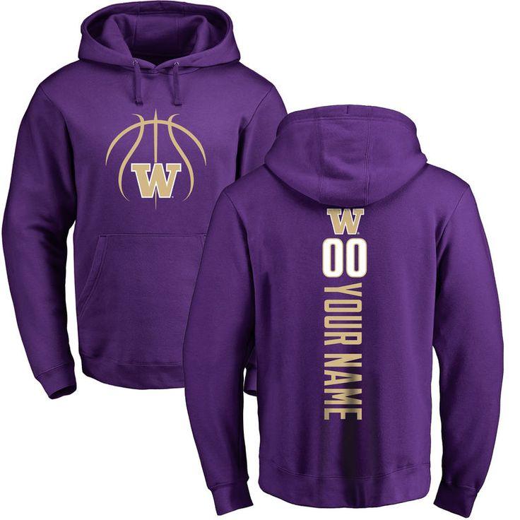 Washington Huskies Basketball Personalized Backer Pullover Hoodie - Purple