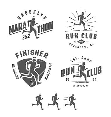 Set of vintage running club design elements vector  by ivanbaranov on VectorStock®