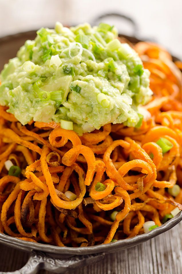 Sweet Potato Spirals with Guacamole | Recipe | Roasted Sweet Potatoes ...