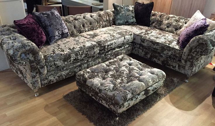 Silver Crush Velvet Corner Sofa Bespoke Chesterfield Other Fabrics Available in Home, Furniture & DIY, Furniture, Sofas, Armchairs & Suites | eBay